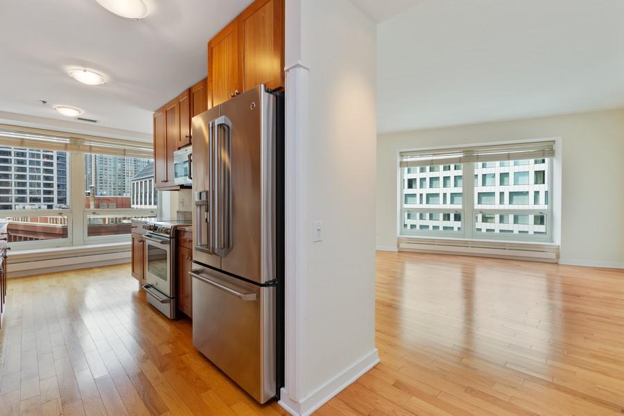 Real Estate Photography - 57 E Delaware, 1606, Chicago, IL, 60611 - Kitchen / Living Room