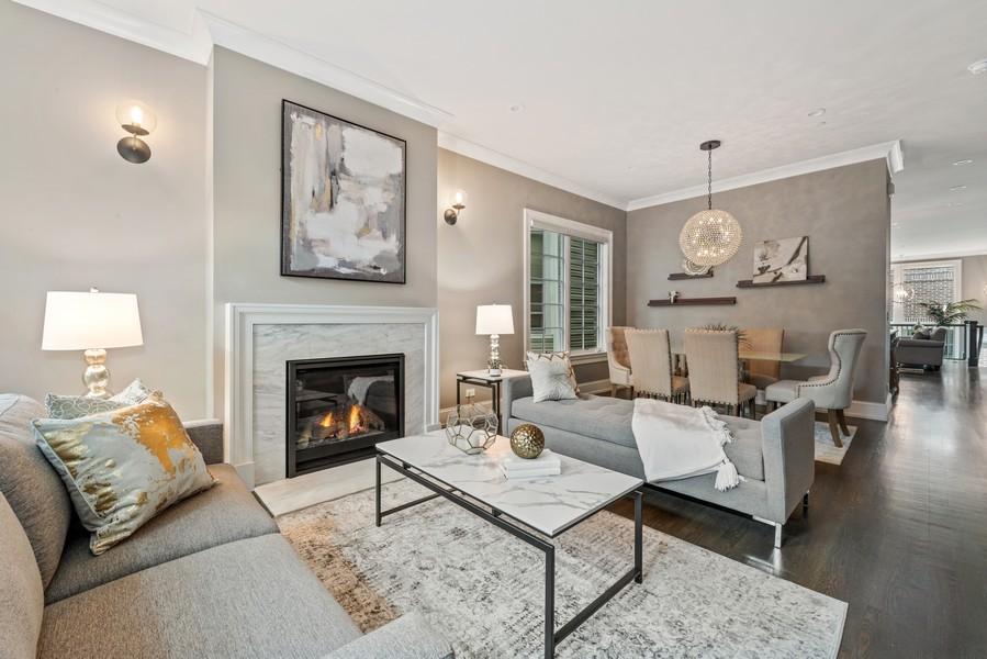Real Estate Photography - 1306 W Byron St, Chicago, IL, 60613 - Living Room/Dining Room