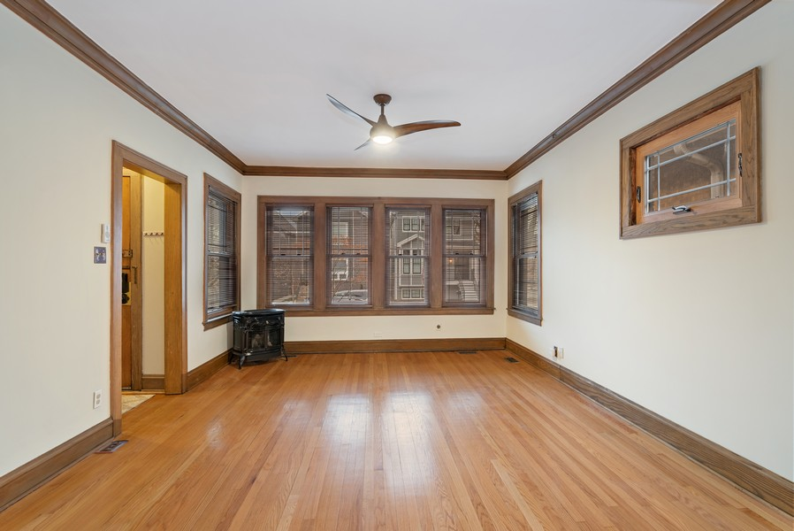 Real Estate Photography - 3655 N Artesian, Chicago, IL, 60618 - Living Room with West facing windows