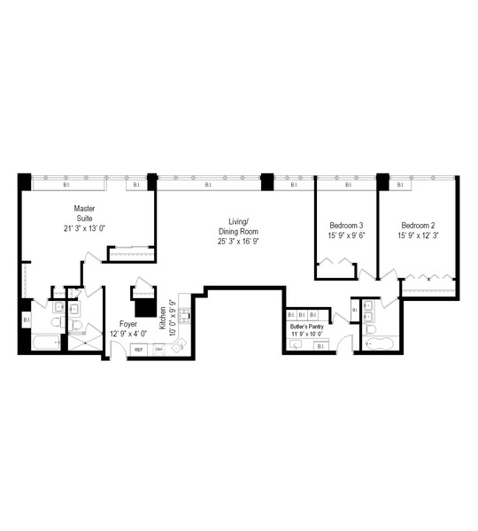 Real Estate Photography - 211 E Ohio, Chicago, IL, 60611 - Floor Plan