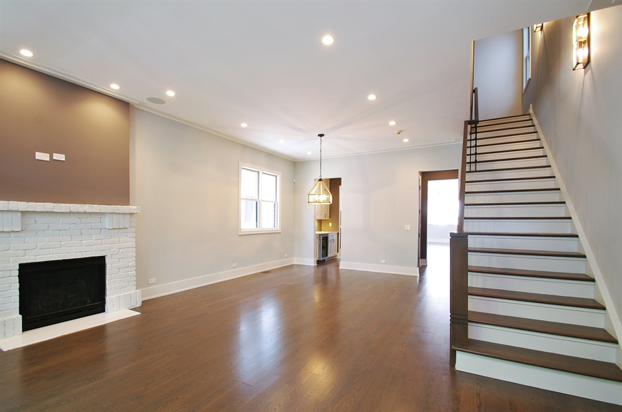 Real Estate Photography - 2024 W Melrose, Chicago, IL, 60618 - Living Room/Dining Room