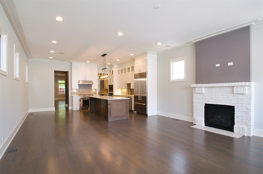 Real Estate Photography - 2024 W Melrose, Chicago, IL, 60618 - Family Room / Kitchen