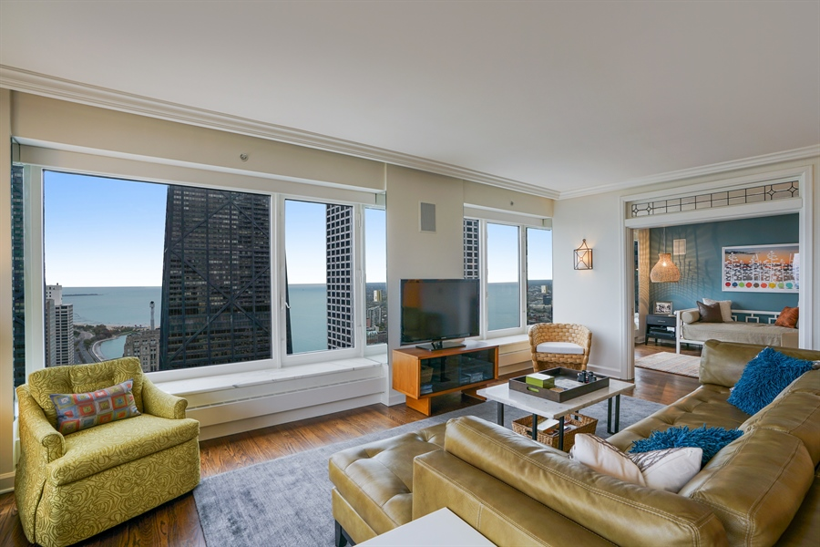 Real Estate Photography - 161 E Chicago Ave, Unit 52F, Chicago, IL, 60611 - Living Room