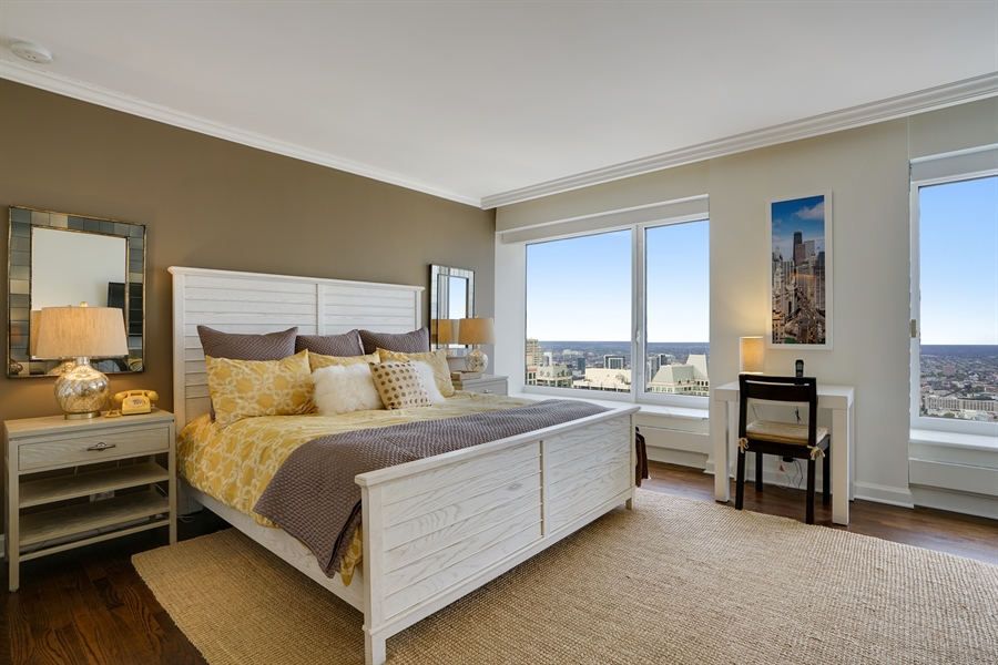 Real Estate Photography - 161 E Chicago Ave, Unit 52F, Chicago, IL, 60611 - Master Bedroom