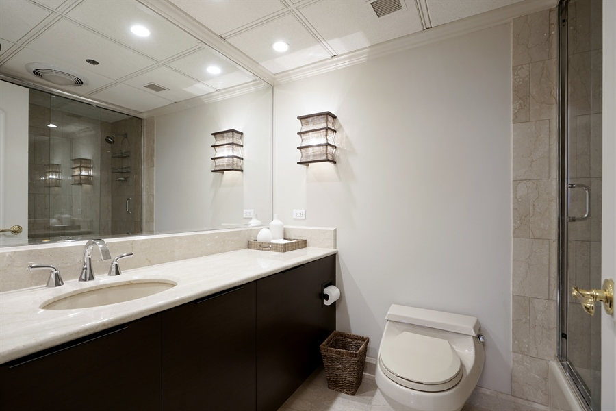 Real Estate Photography - 161 E Chicago Ave, Unit 52F, Chicago, IL, 60611 - 2nd Bathroom
