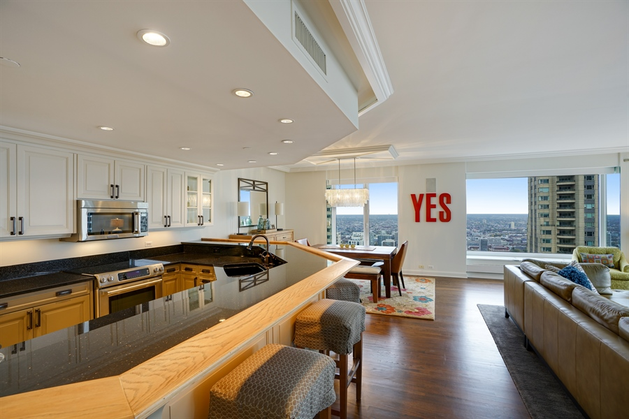 Real Estate Photography - 161 E Chicago Ave, Unit 52F, Chicago, IL, 60611 - Kitchen / Dining Room