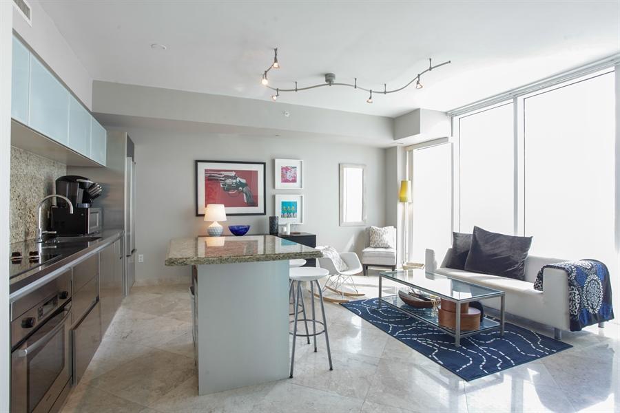 Real Estate Photography - 1040 Biscayne Blvd, 1605, Miami, FL, 33132 - Kitchen / Living Room