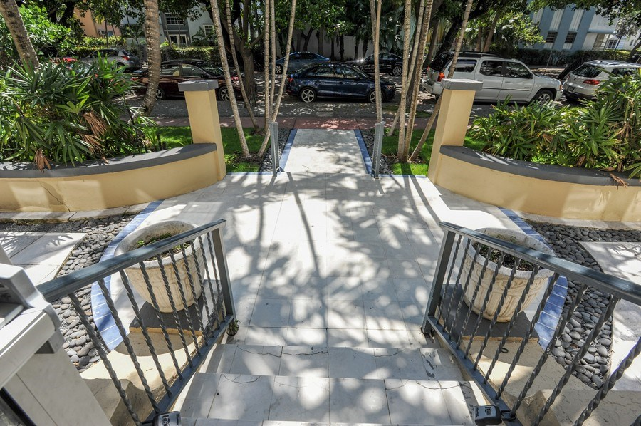 Real Estate Photography - 1018 Meridian Ave, #1, Miami Beach, FL, 33139 - View from Lobby Area to Building Entry & Terrace