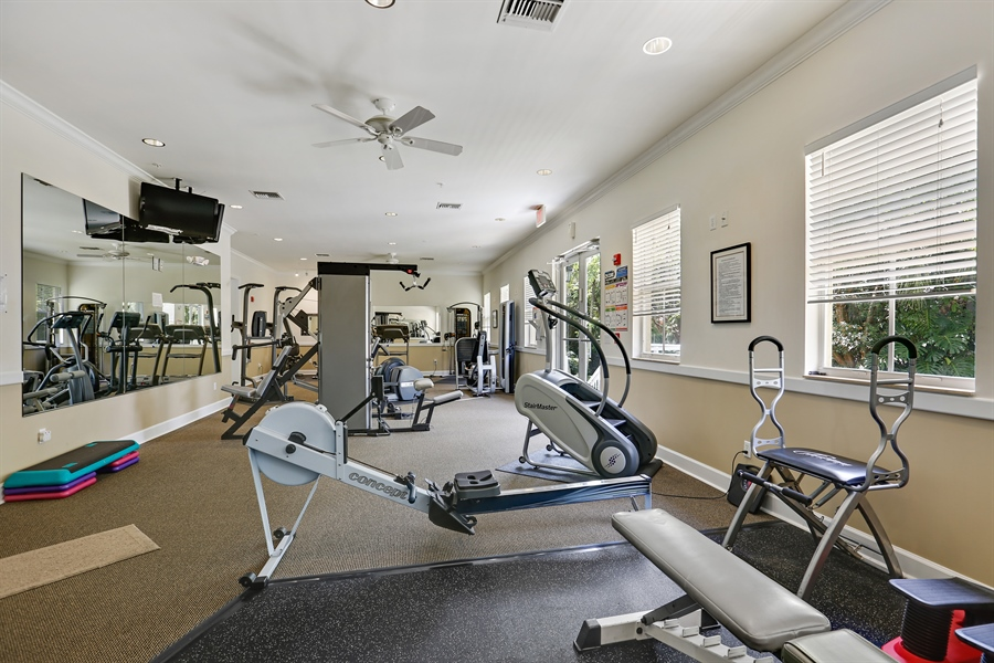 Real Estate Photography - 7604 SW 102nd St, 123, Pinecrest, FL, 33156 - Full Gym with Machines and Free Weights