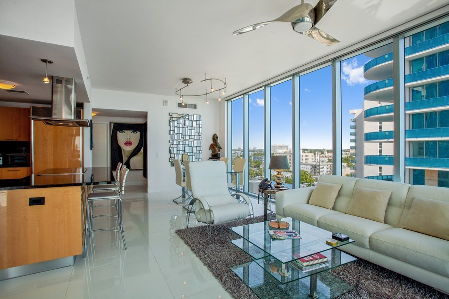 Real Estate Photography - 6899 Collins Avenue, #905, Miami, FL, 33141 - Living Room/Dining Room