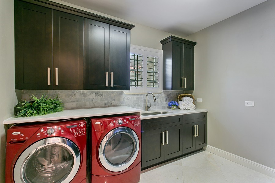 Real Estate Photography - 2440 Whispering Oaks Lane, Delray Beach, FL, 33445 - Laundry Room