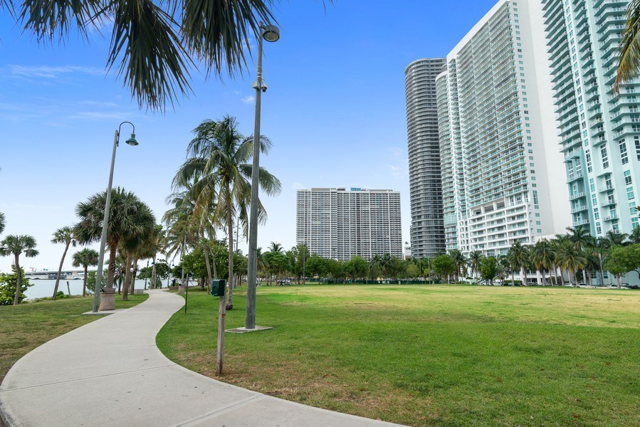 Real Estate Photography - 1900 N. Bayshore Drive, #4802, Miami, FL, 33132 - View of Margaret Pace Park Across the Street from