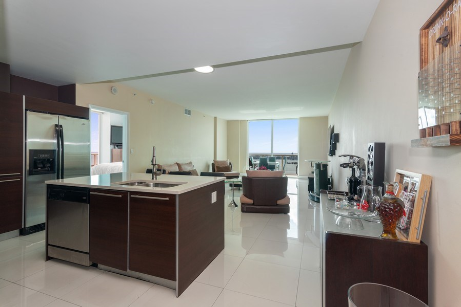 Real Estate Photography - 1900 N. Bayshore Drive, #4802, Miami, FL, 33132 - Open Kitchen, Living & Dining Area from Unit's Ent