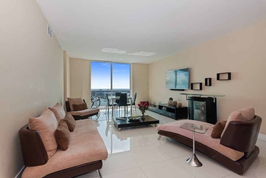 Real Estate Photography - 1900 N. Bayshore Drive, #4802, Miami, FL, 33132 - Living & Dining Area