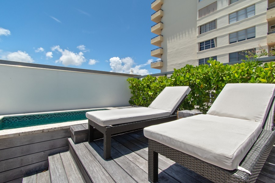 Real Estate Photography - 9501 Collins Avenue, TH-2, Surfside, FL, 33154 - Roof Deck