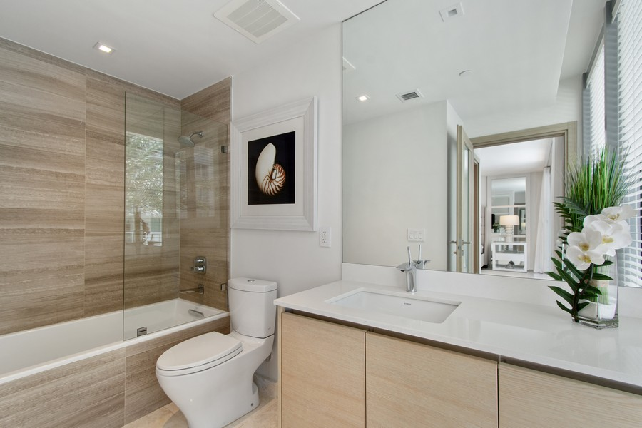 Real Estate Photography - 9501 Collins Avenue, TH-2, Surfside, FL, 33154 - 2nd Bathroom