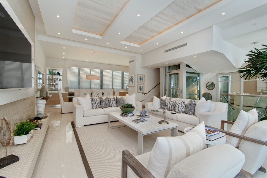 Real Estate Photography - 9501 Collins Avenue, TH-2, Surfside, FL, 33154 - Living Room / Dining Room