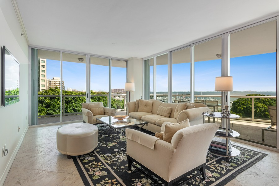 Real Estate Photography - 2645 South Bayshore Drive #703, Miami, FL, 33133 - Living Room