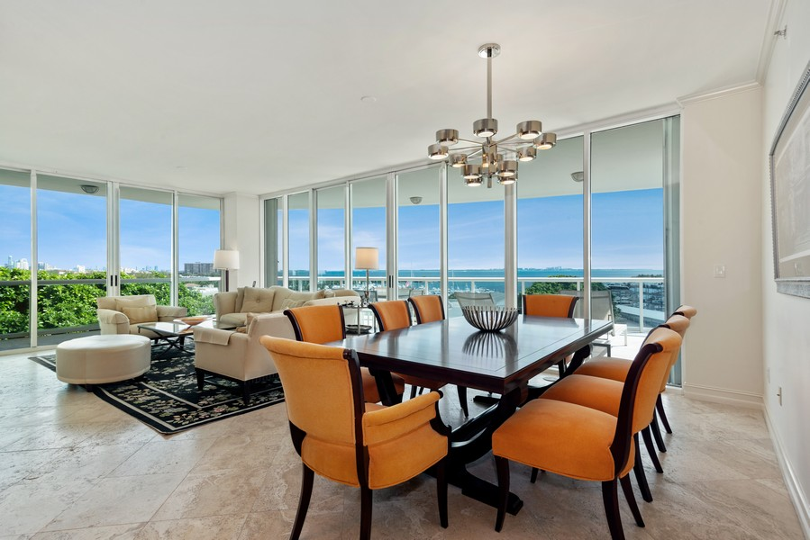 Real Estate Photography - 2645 South Bayshore Drive #703, Miami, FL, 33133 - Living Room / Dining Room