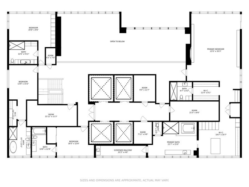 Real Estate Photography - 1451 Brickell Avenue, PH 1, Miami, FL, 33131 - Floor Plan