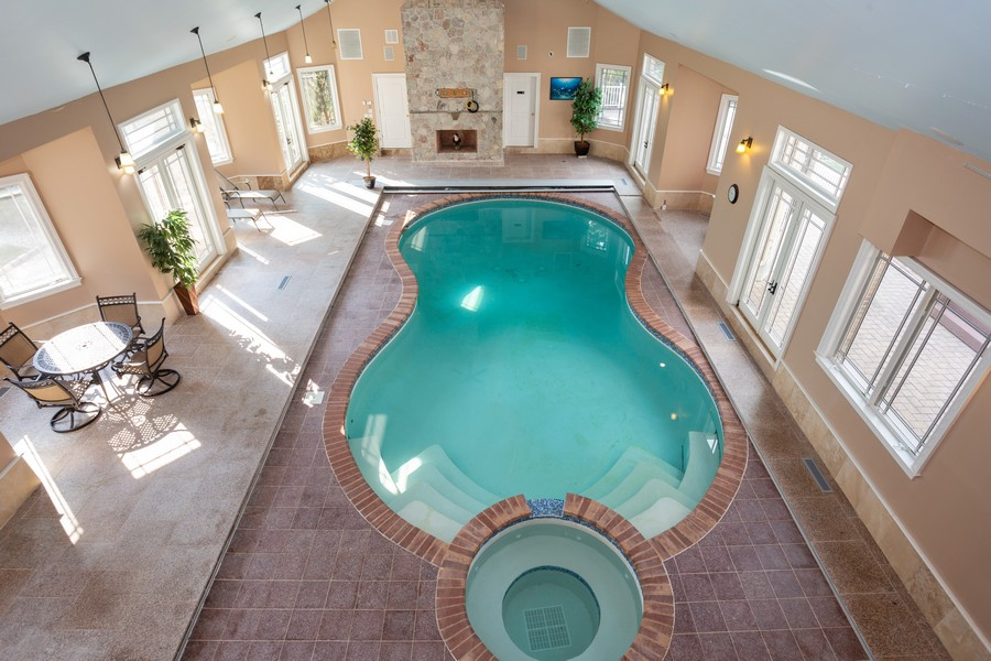 Real Estate Photography - 8 Old Schoolhouse Rd, Manorville, NY, 11949 - Indoor Heated Pool with Bath