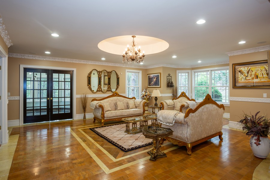 Real Estate Photography - 8 Old Schoolhouse Rd, Manorville, NY, 11949 - Formal Living Room all Marble Flooring