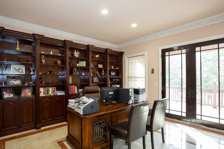 Real Estate Photography - 8 Old Schoolhouse Rd, Manorville, NY, 11949 - Office with Built In Shelving
