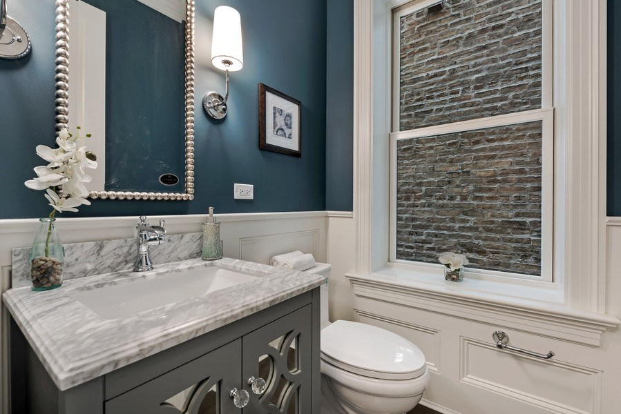 Real Estate Photography - 1330 W Newport, Chicago, IL, 60657 - Half Bath