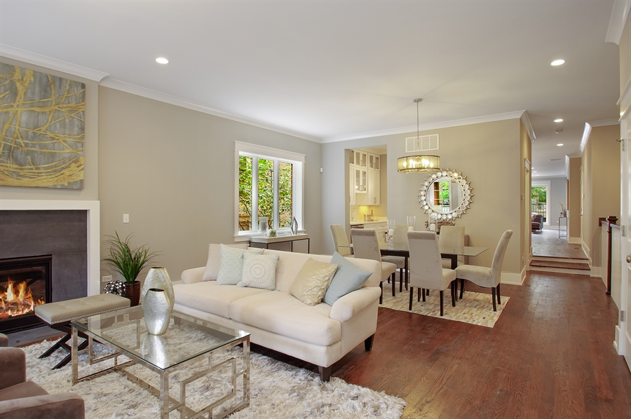 Real Estate Photography - 707 W Buckingham, Unit 1W, Chicago, IL, 60657 - Living Room / Dining Room