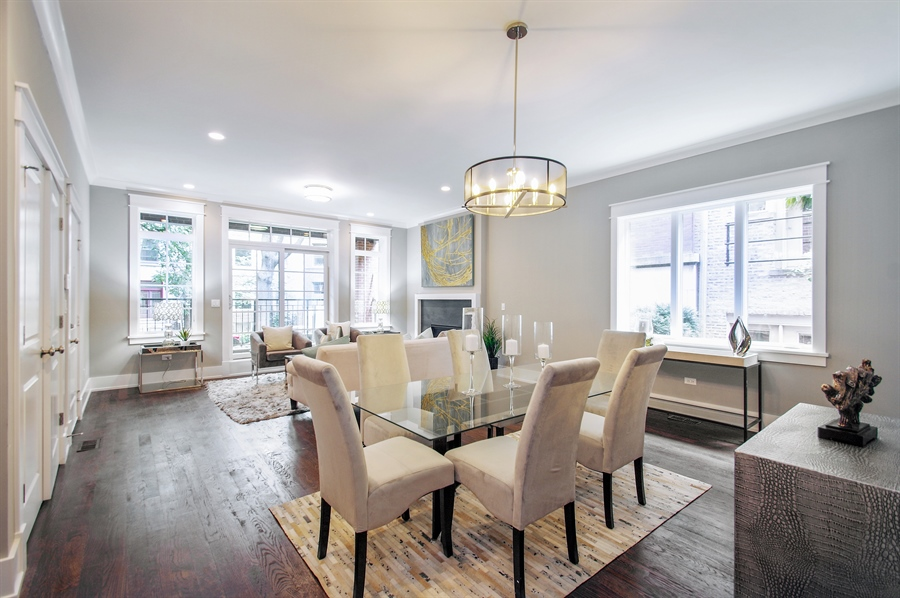 Real Estate Photography - 707 W Buckingham, Unit 1W, Chicago, IL, 60657 - Living Room/Dining Room