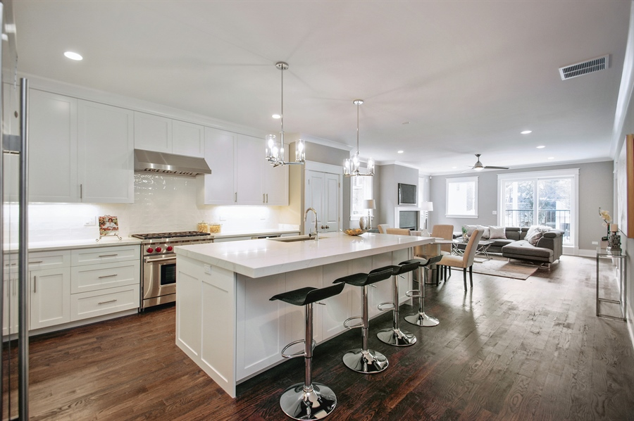 Real Estate Photography - 707 W Buckingham, Unit 1W, Chicago, IL, 60657 - Family Room / Kitchen