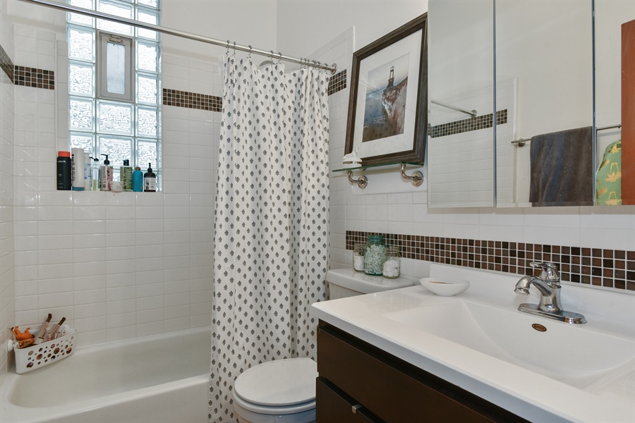 Real Estate Photography - 1943 W Belle Plaine, Chicago, IL, 60613 - 2nd floor bathroom