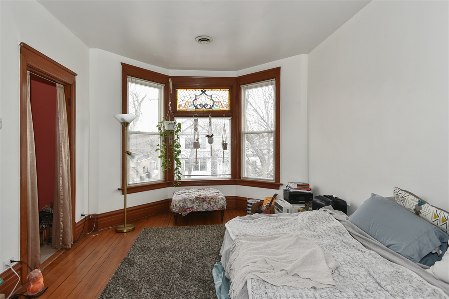Real Estate Photography - 1943 W Belle Plaine, Chicago, IL, 60613 - 2nd Floor Living Room w 3rd bedroom off to side