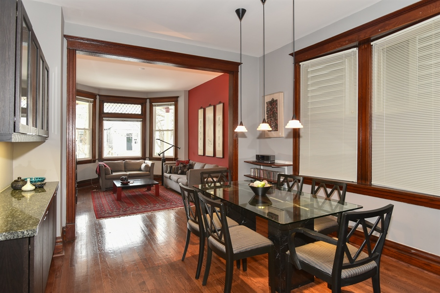 Real Estate Photography - 1943 W Belle Plaine, Chicago, IL, 60613 - Living Room / Dining Room