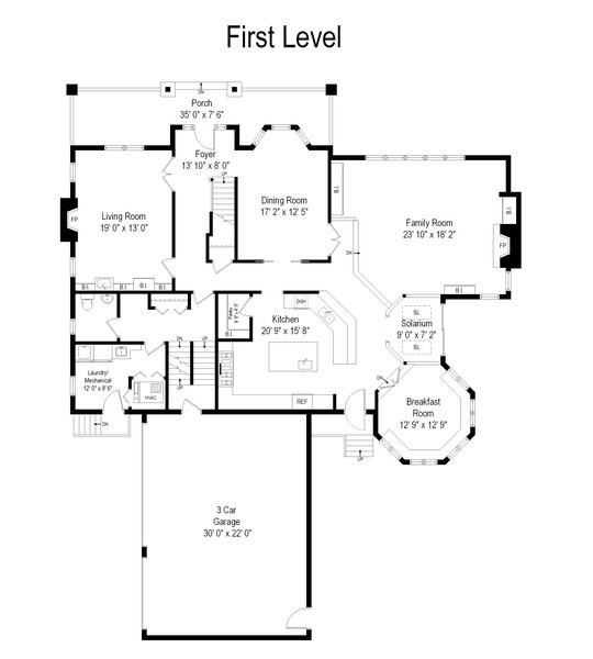 Real Estate Photography - 4545 W Berteau, Chicago, IL, 60641 - Floor Plan