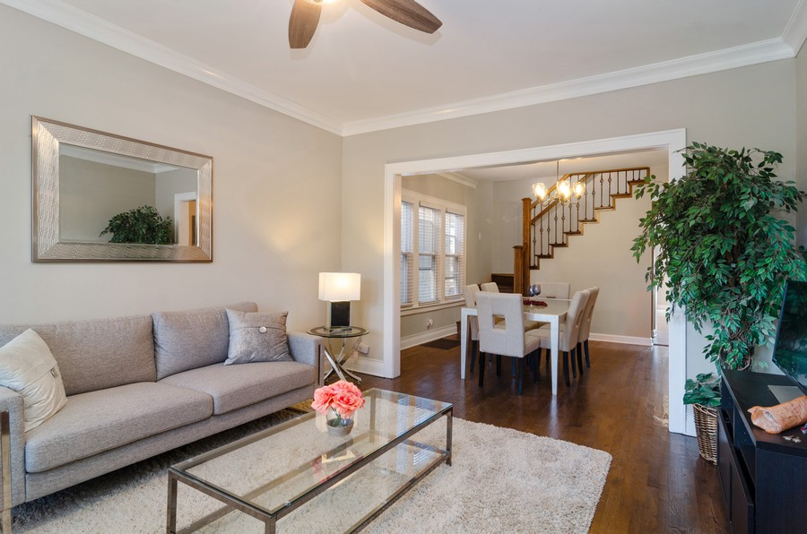 Real Estate Photography - 4918 N Kostner, Chicago, IL, 60630 - Living Room / Dining Room