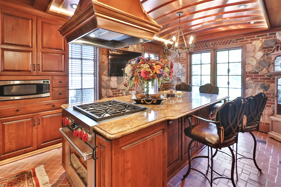 Real Estate Photography - 5709 Clinton Ave S, Minneapolis, MN, 55419 - Kitchen Copper Ceiling Detail with Island