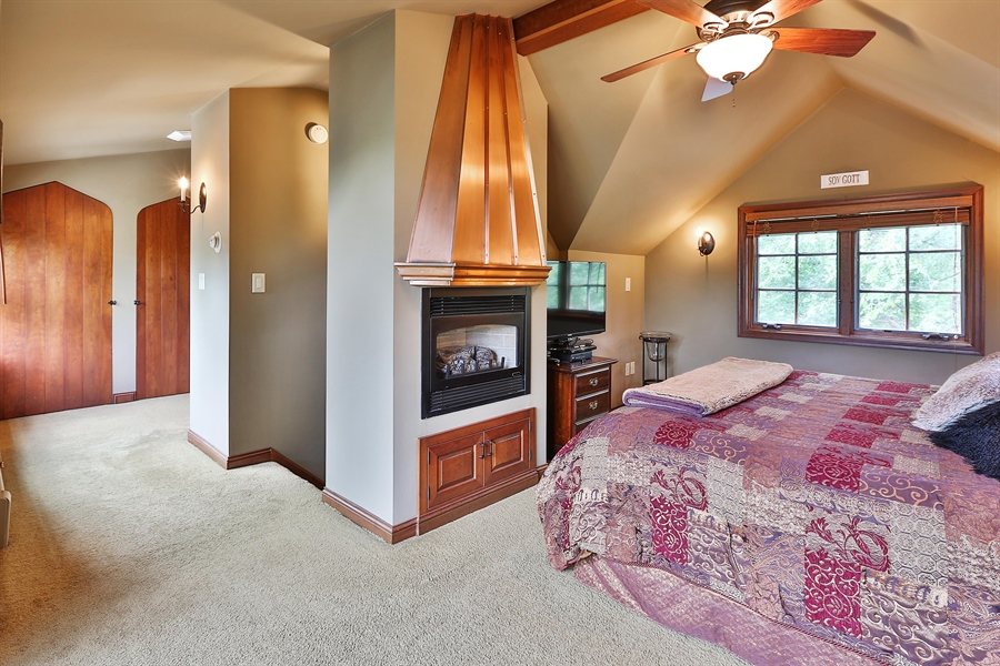 Real Estate Photography - 5709 Clinton Ave S, Minneapolis, MN, 55419 - Master Bedroom with Fireplace