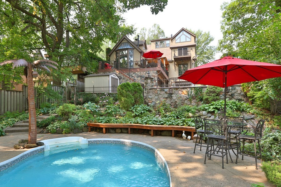 Real Estate Photography - 5709 Clinton Ave S, Minneapolis, MN, 55419 - Full Backyard View from Pool