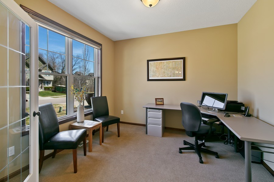 Real Estate Photography - 15385 55th Ct N, Plymouth, MN, 55446 - Main floor Office/Den w/ french doors
