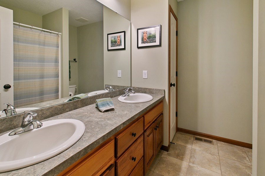 Real Estate Photography - 15385 55th Ct N, Plymouth, MN, 55446 - Upper level FULL bath w/dual sinks, tub/shower