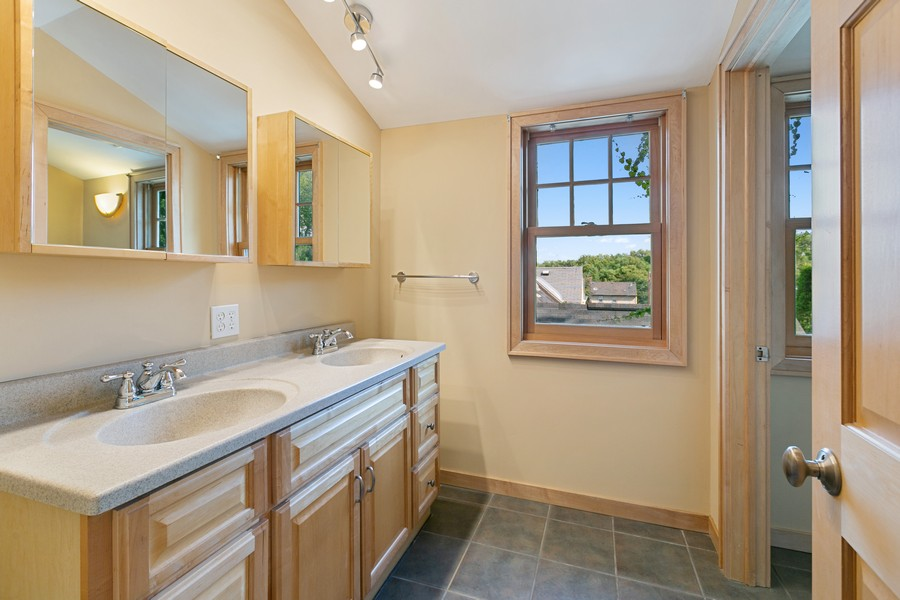 Real Estate Photography - 5333 Fremont Ave S, Minneapolis, MN, 55409 - Upper Level 3/4 Bath with seperate Shower & Toilet