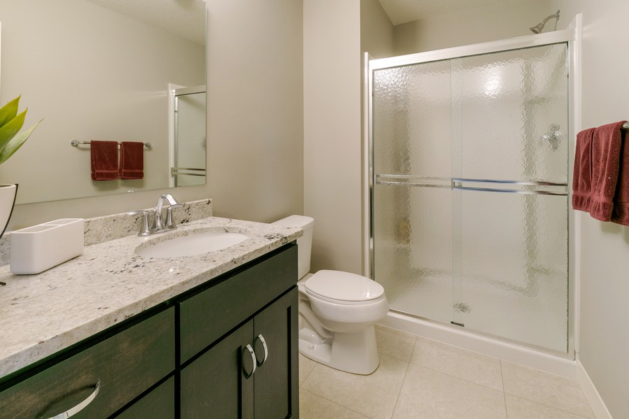 Real Estate Photography - 16219 Elkhorn Trail, Lakeville, MN, 55044 - Lower level 3/4 bath