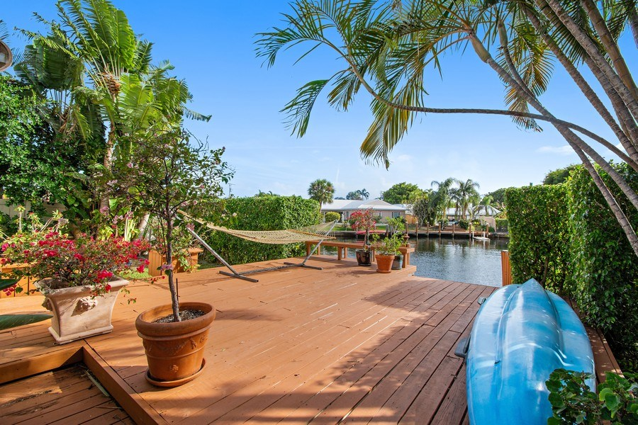 Real Estate Photography - 2860 NE 55th PL, Fort Lauderdale, FL, 33308 - Raised Deck Overlooking Dolphin Cove