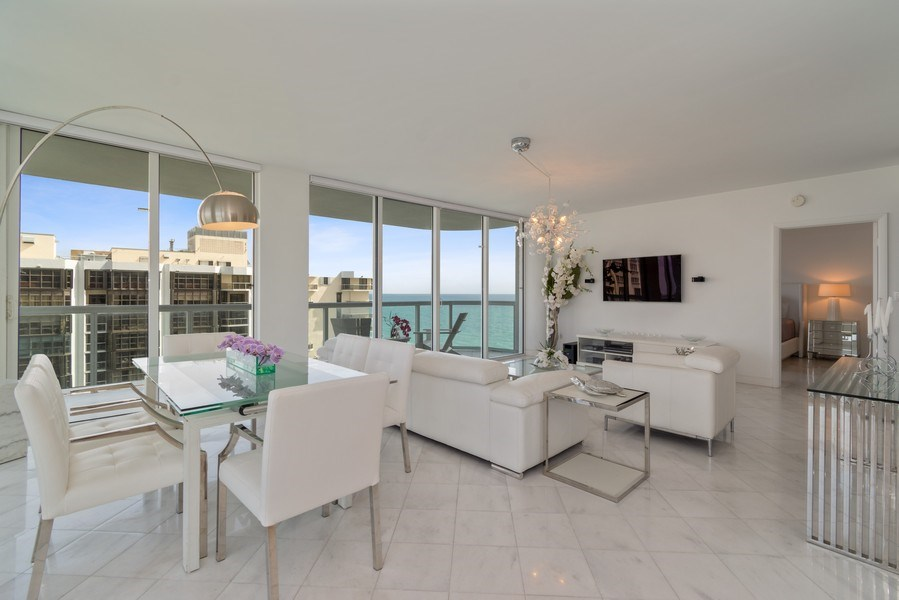 Real Estate Photography - 6365 Collins Avenue 1708, Miami Beach, FL, 33141 - Living Room/Dining Room