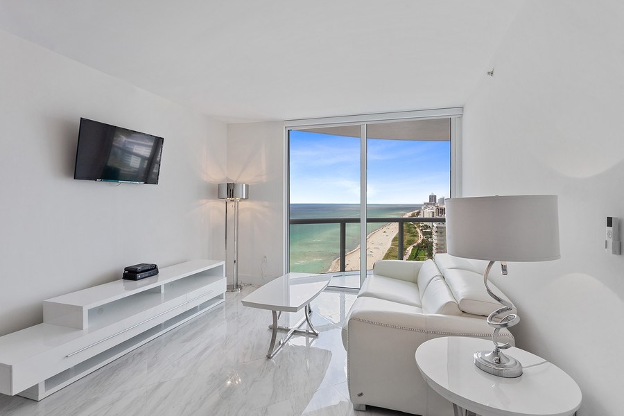 Real Estate Photography - 6365 Collins Avenue 2704, Miami Beach, FL, 33141 - Living Room