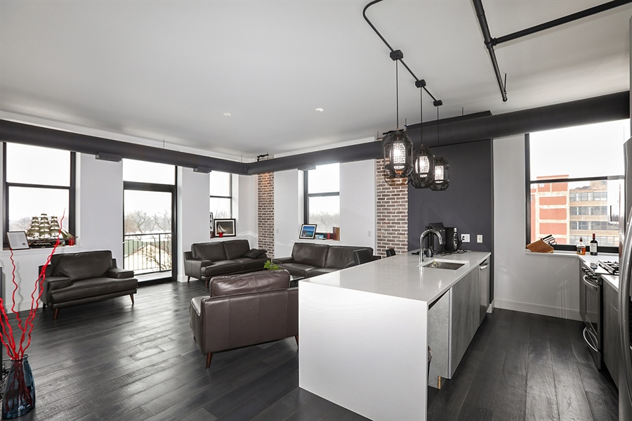 Real Estate Photography - 2323 W Pershing Rd, Unit 505, Chicago, IL, 60609 - Kitchen / Living Room