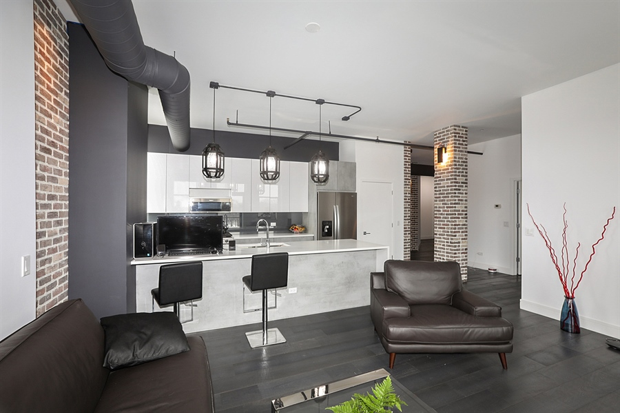 Real Estate Photography - 2323 W Pershing Rd, Unit 505, Chicago, IL, 60609 - Kitchen/Living