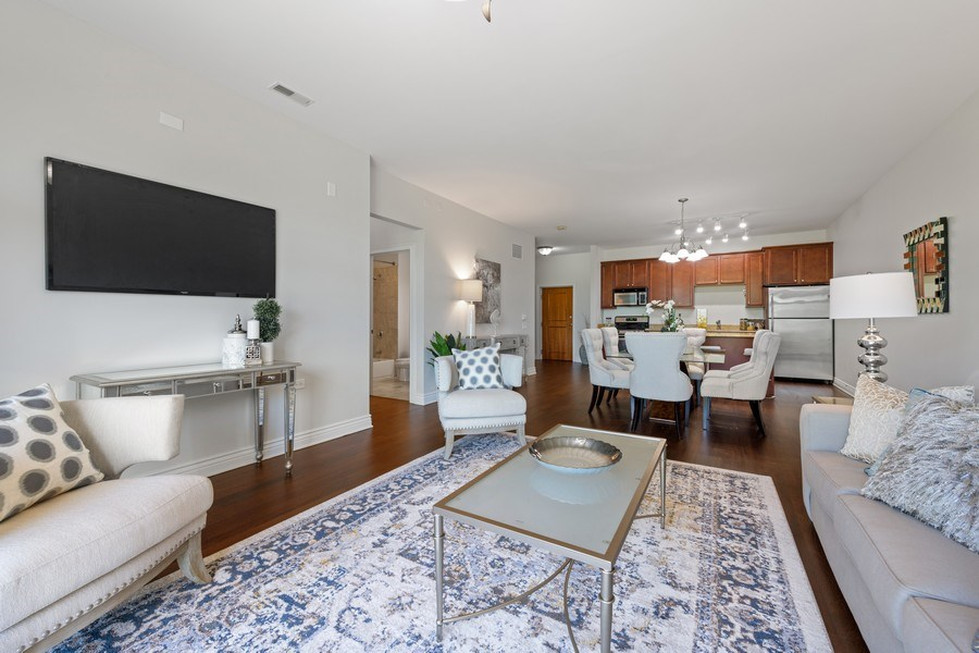 Real Estate Photography - 3300 W Irving Park Rd, Unit 3H, Chicago, IL, 60618 - Living Room