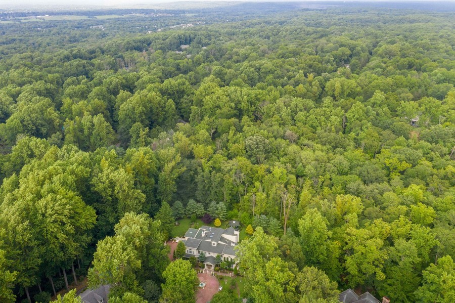 Real Estate Photography - 76 Pettit Pl, Princeton, NJ, 08540 - Aerial view backing to preserved land